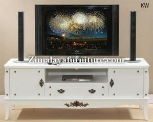 Meja TV Putih Antik