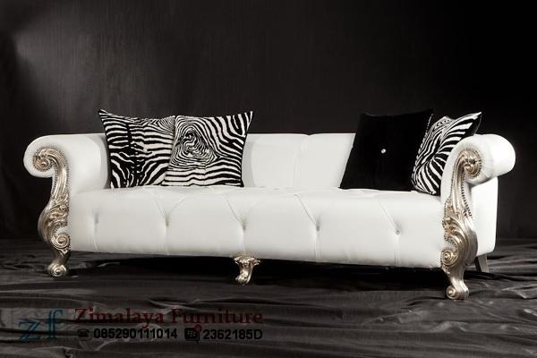 Sofa Mewah Putih Silver