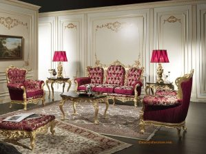 Sofa Tamu Ukir Emas Mewah