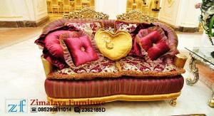 Kursi Tamu Emas Merah Mewah 2