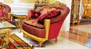 Kursi Tamu Emas Merah Mewah 3