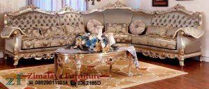 Sofa Tamu Sudut Warna Emas