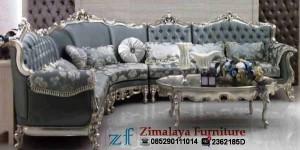 Sofa Tamu Sudut Warna Emas.