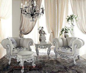 Sofa Couple Ukir Warna Putih