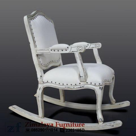 Kursi Goyang Putih Antik