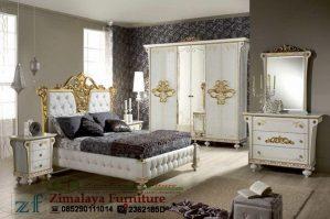 Set Tempat Tidur Warna Putih Emas