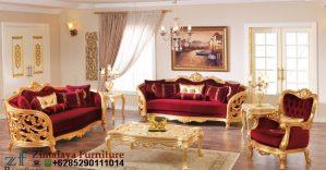 Kursi Tamu Warna Merah Emas