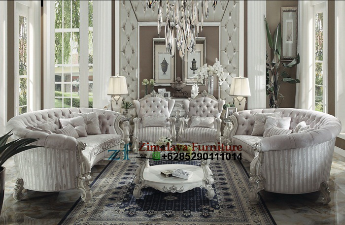 Kursi Tamu Klasik Ukir Mewah Warna Putih