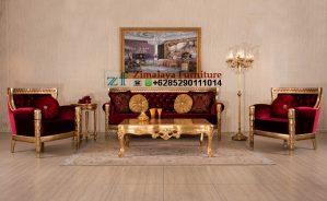 Kursi Tamu Mewah Warna Merah Dan Emas