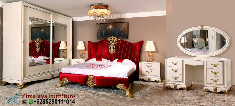 Set Kamar Tidur Warna Merah Emas