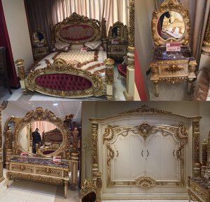 Set Tempat Tidur Ukiran Emas Mewah