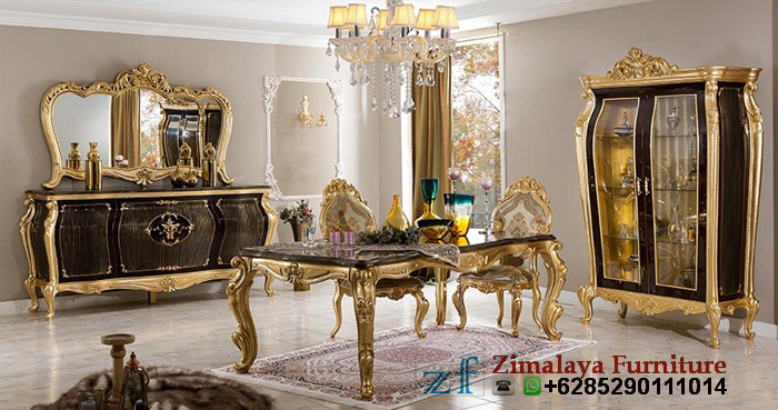 Set Kursi Makan Warna Emas Antik