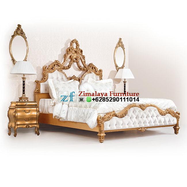 Tempat Tidur Jati Warna Emas