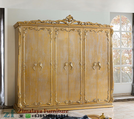 Lemari Pakaian 6 Pintu Warna Emas