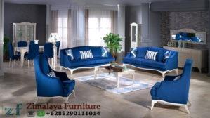Sofa Tamu Warna Biru Putih