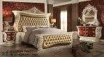 Set Tempat Tidur Ukir Warna Emas